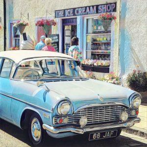 Classic Car at Ice Cream Shop